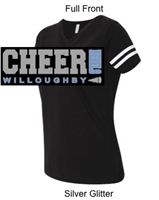 Black with White Short Sleeve Cotton/Polyester Jersey T-Shirt (Adult and Youth) GLITTER