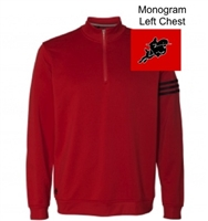 Red with Black Adidas Performance 1/4 Zipper Pullover  (Adult)