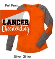 Orange and Granite Preppy Patch Tee (Ladies) GLITTER