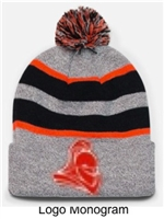 Heather, Black and Orange Knit Pom Hat