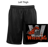 "Black Mesh Tricot 9"" Shorts with Pockets (Adult)"