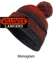 Black and Orange Winter Hat with Pom-Pom (One Size) Monogram Logo