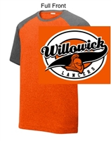Deep Orange and Graphite Heather Polyester Short Sleeve (Adult)