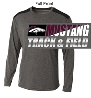 Heather Grey and Black Performance Long Sleeve Shirt (Adult)