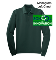 Dark Green Cotton/Polyester Pique Long Sleeve Polo (Adult and Youth)