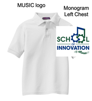 White Cotton/Polyester Pique Polo  - Music Logo (Adult and Youth)