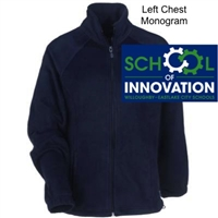 Navy Full Zipper Fleece Jacket  - Monogram Logo (Adult, Ladies and Youth)