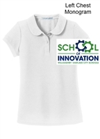 White Peter Pan Collar Performance Polo  - Monogram Logo (Girls)