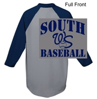 Athletic Heather with Navy 50/50 Baseball Style Jersey (Adult and Youth)