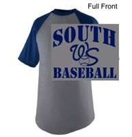 Athletic Heather with Navy 50/50 Baseball Style Jersey Short Sleeve (Adult and Youth)