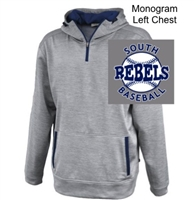 Silver Grey with Navy Polyester Fleece 1/4 Zipper Hoodie  (Adult)