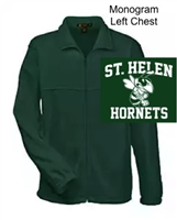 Hunter Green Full Zipper Fleece Jacket  - Monogram Logo (Adult, Ladies and Youth)