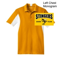 Gold and White Polyester Tricot Polo (Adult and Ladies)