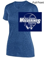 Navy Heather Polyester V-Neck (Ladies)