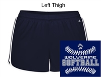 Navy and White Polyester Shorts (Ladies)