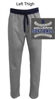 Grey with Navy Terry Fleece Sweatpants with Pockets (Adult)