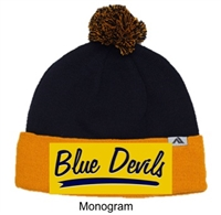 Gold and Navy Loose-Fit Pom-Pom Knit Hat (One Size)
