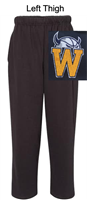 Black Open Bottom Sweatpants with Pocket (Adult) NO Pocket (Youth)