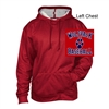Red Heather Polyester Fleece Hooded Sweatshirt (Adult)