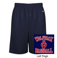Navy Mesh Polyester Shorts with Pockets (Adult)