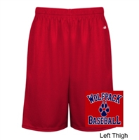 Red Mesh Polyester Shorts with Pockets (Adult)