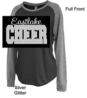 Black and Grey  Cotton Polyester Raglan Crewneck (Ladies) GLITTER