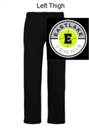 Black Open Bottom Sweatpants with Pocket (Adult)