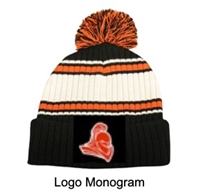 Black, Orange and White Knit Pom Hat (One Size)