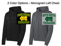 Polyester Fleece Full Zipper Hooded Jacket  (Adult)  Monogram Logo