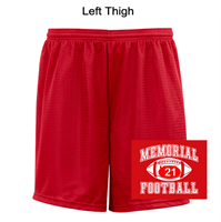 "Red Mesh Tricot 9"" Shorts (Adult)"