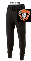 Black Cotton/Poly Fleece Jogger with Pockets (Ladies)