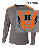 Heather Grey and Orange Performance Long Sleeve Shirt (Adult)