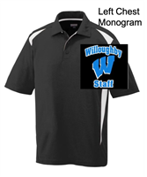 Black with White Polyester Polo  - Monogram Logo (Adult and Ladies)