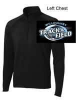 Black Polyester Spandex 1/4 Zipper Jacket (Adult and Ladies)