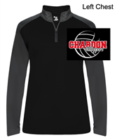 Black and Graphite Soft Polyester Lightweight Performance 1/4 Zipper Pullover (Adult and Ladies)