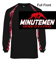 Black with Red Digital Long Sleeve Polyester Shirt (Adult)