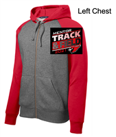 Graphite and Red Full Zipper Hooded Sweatshirt (Adult)