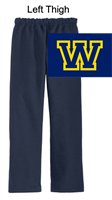 Navy Open Bottom Sweatpants  (Adult and Youth)