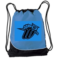 University Blue with Black and White Drawstring Bag