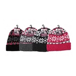 ALP-42785--LADIES KNIT BEANIES, ASST PRINTS