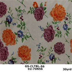 LAVENDER,ORANGE, BLUE FLOWERS ON WHITE BACKGROUND