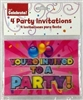 PARTY INVITATIONS, GIRL, HOLOGRAPHIC, 4/PACK