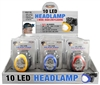 HEAD LAMP, 10 LED, 3-MODE Asst Colors 12 per display