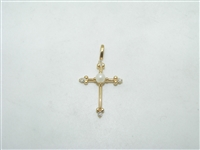 14k yellow gold diamond and pearl cross