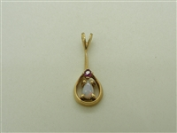 14K Yellow Gold Natural Ruby Opal Shape Pendant