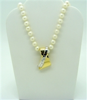Cultured Pearl and Open Pendant Necklace