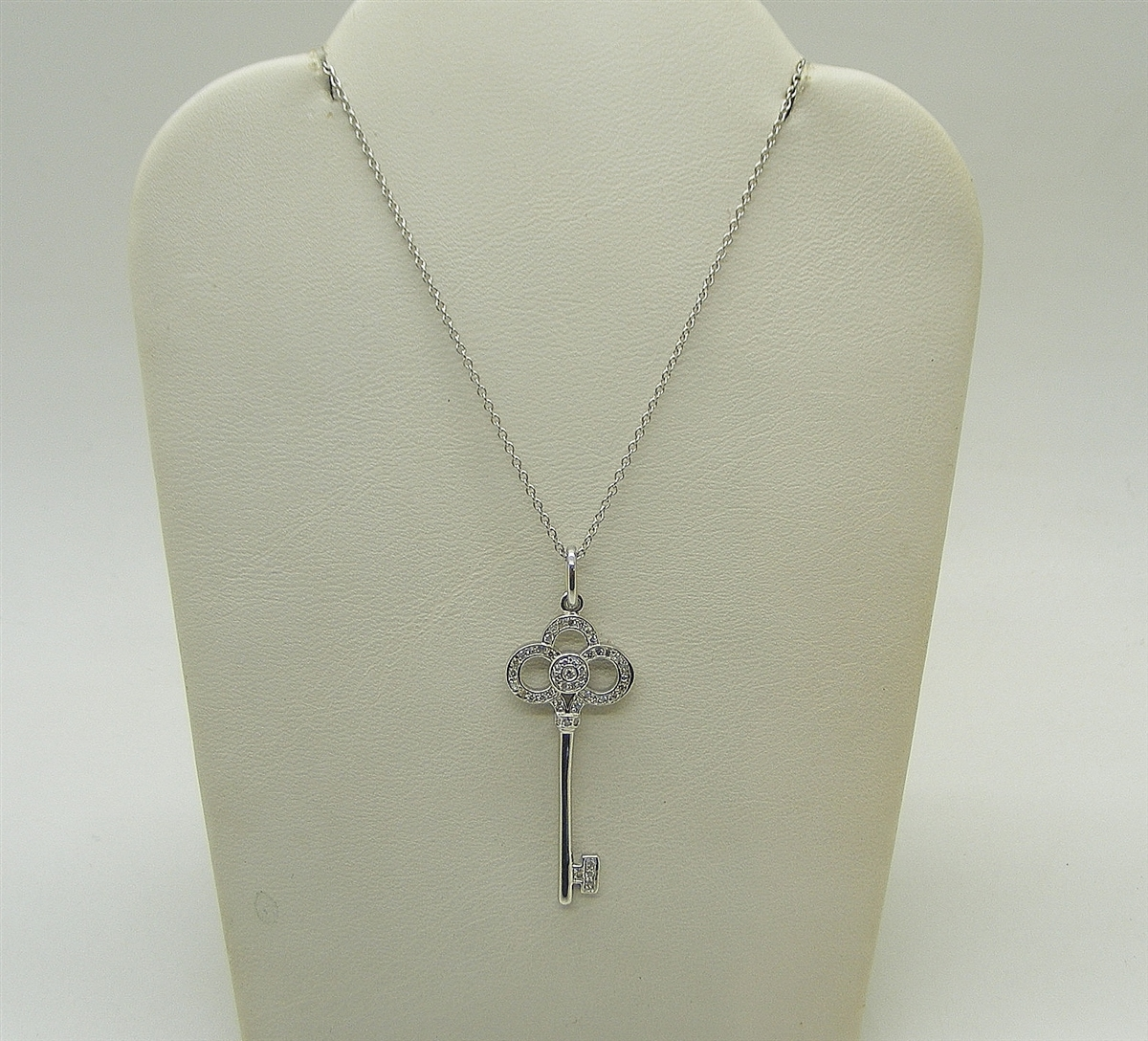 18k Tiffany Co Crown Key Pendant Platinum Chain