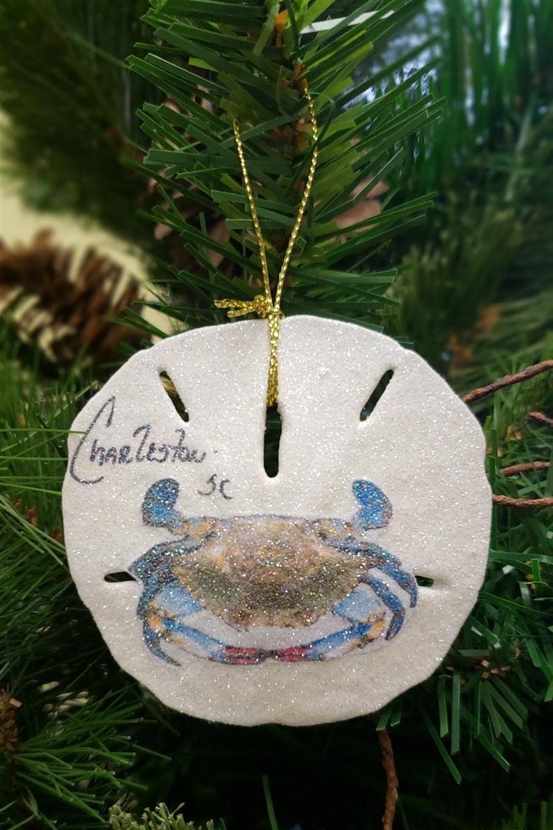 blue crab on sand dollar ornament