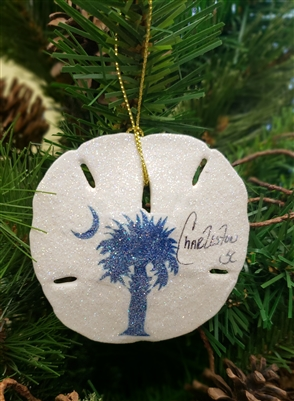 Palmetto and Moon On Sand Dollar Ornament