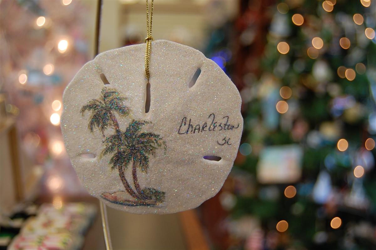 palm trees on sand dollar
